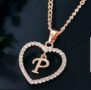 New Gold tone letter P love Crystal chain necklace